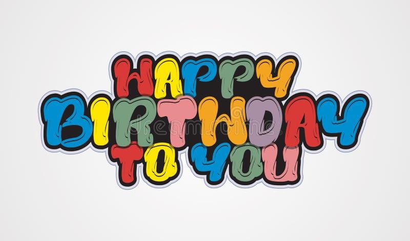 Projeto de conceito colorido da letra dos desenhos animados do vetor feliz aniversário ilustração royalty free