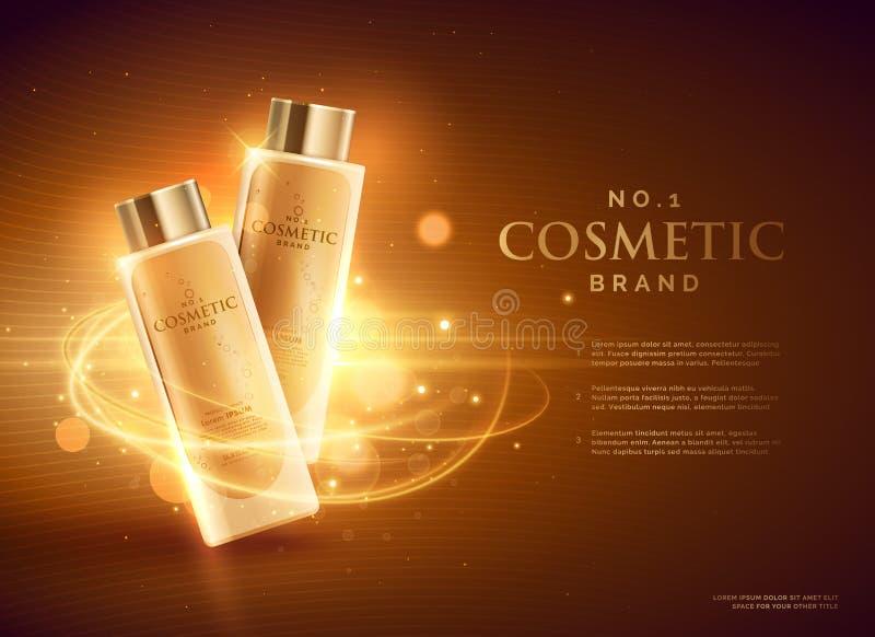 projeto de conceito cosmético superior da propaganda de tipo com brilhos ilustração royalty free