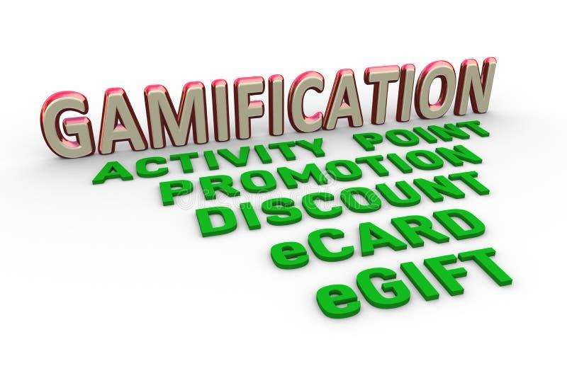 projeto de conceito 3d da palavra do texto do gamification ilustração stock