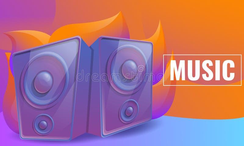 Projeto de conceito da música com os oradores no fundo abstrato, ilustração stock