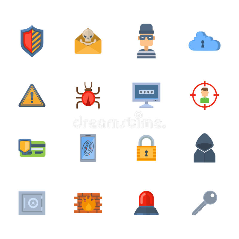 Projeto de conceito da rede da tecnologia da proteção de dados do vetor do ataque do hacker do vírus do ícone da segurança da seg ilustração do vetor