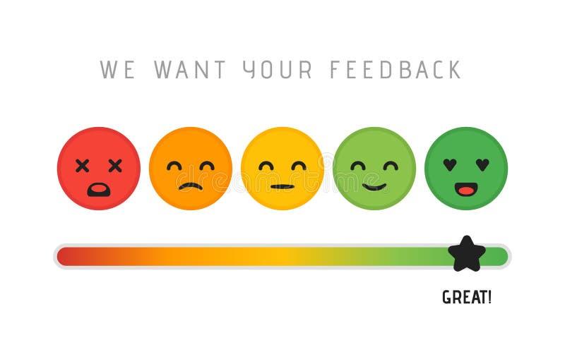 Projeto de conceito da satisfação do cliente Nós queremos seu conceito da estrela da escala da revisão da avaliação do feedback V ilustração stock