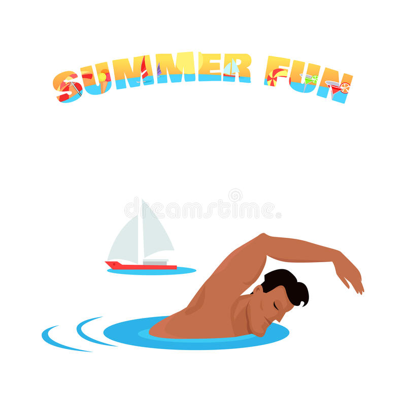 Projeto de conceito do cartaz da bandeira do divertimento do verão ilustração stock