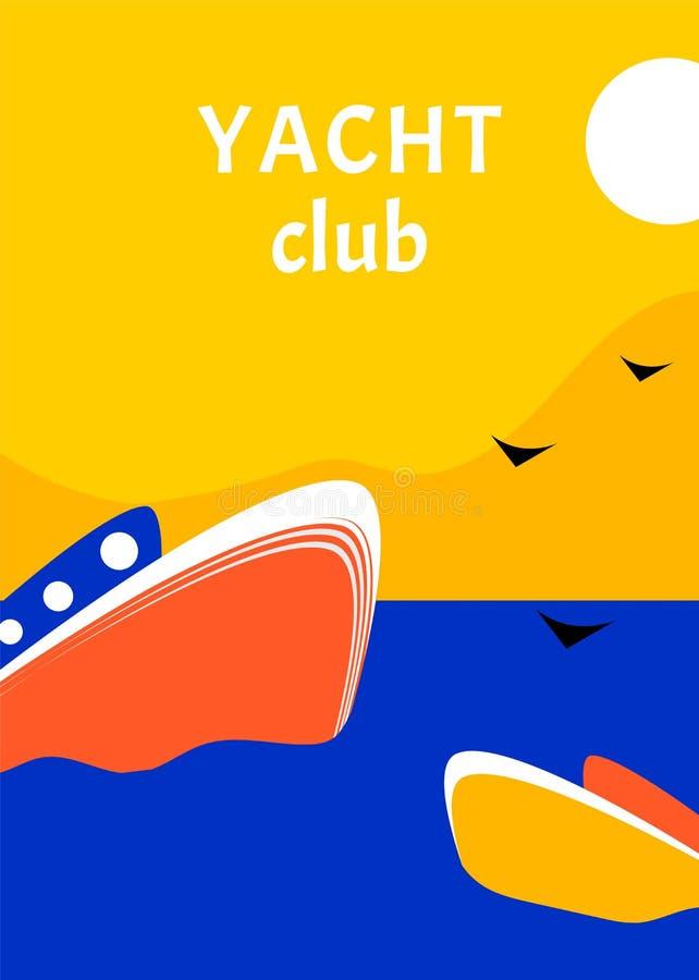 Projeto de conceito do cartaz do esporte do yacht club com barco retro Estilo liso da raça da vela da regata ilustração stock