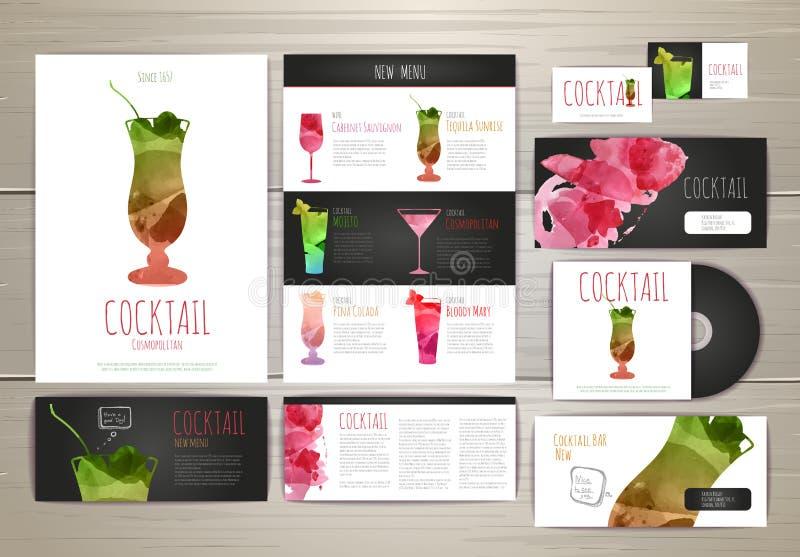 Projeto de conceito do cocktail da aquarela Template corporativo para artes -finais do negócio ilustração stock