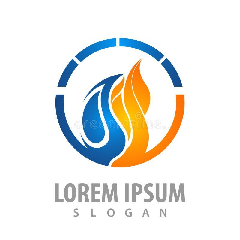 Projeto de conceito do logotipo da água e do fogo do círculo Vetor gráfico do elemento do molde do símbolo ilustração do vetor