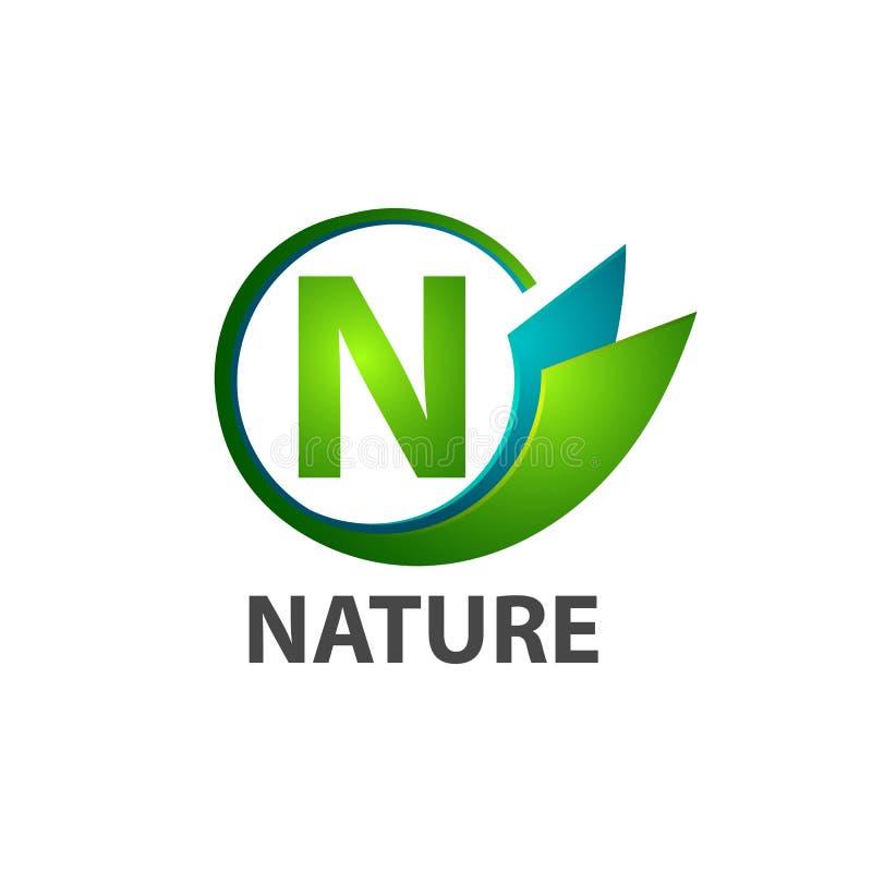 Projeto de conceito do logotipo da natureza da letra inicial N do círculo Elemento gráfico do molde do símbolo ilustração royalty free