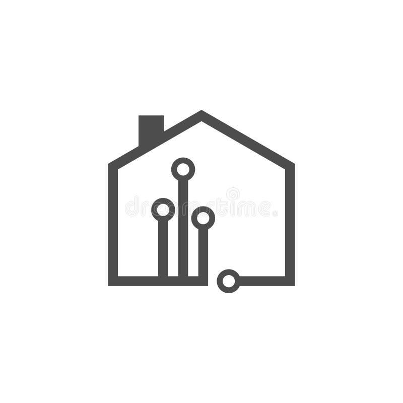 Projeto de conceito do logotipo da tecnologia do vetor da casa da tecnologia ilustração do vetor