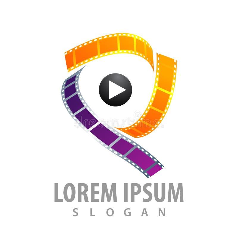 projeto de conceito do logotipo do jogo dos meios do filme de rolo do cinema-filme do rolo Letra inicial P Elemento gráfico do mo ilustração royalty free