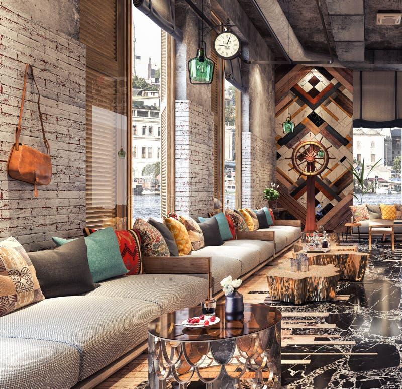 Projeto de conceito do ` moderno do estação de caminhos-de-ferro do ` da barra da sala de estar do restaurante ilustração stock