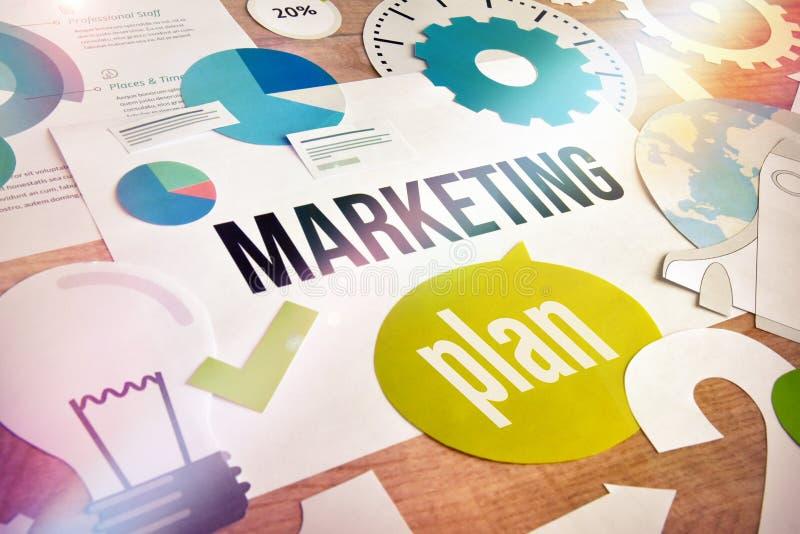 Projeto de conceito do plano de marketing imagens de stock