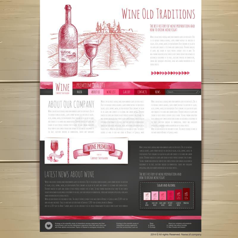 Projeto de conceito do vinho da aquarela Projeto do local de quarta-feira ilustração do vetor