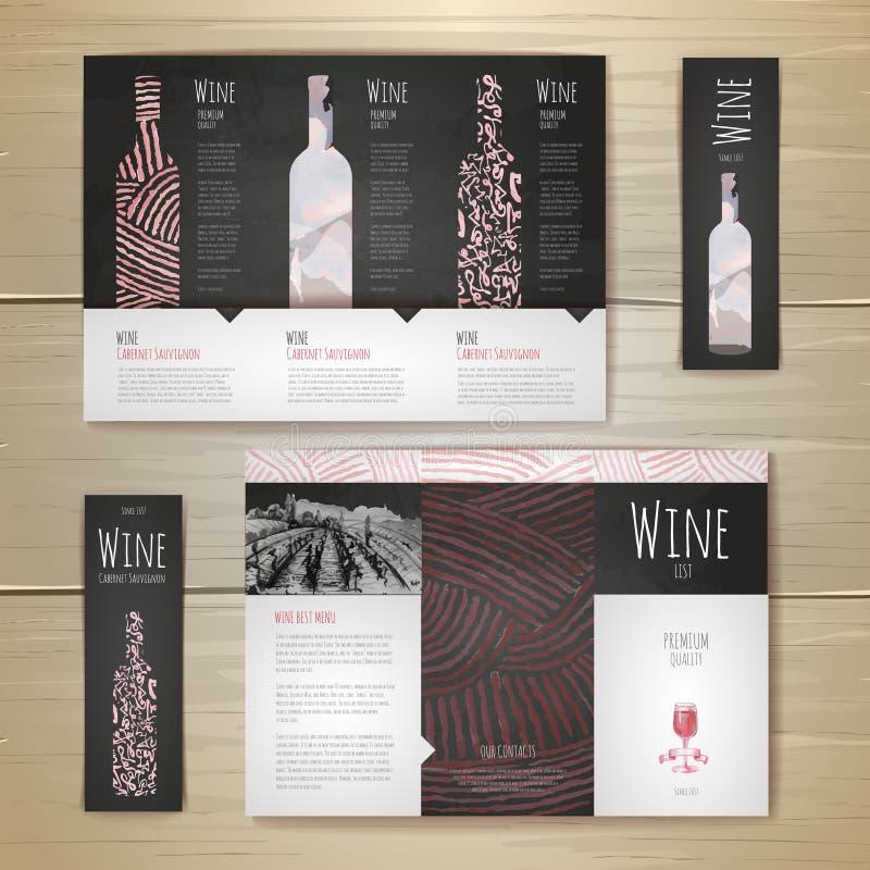 Projeto de conceito do vinho da aquarela Template corporativo para artes -finais do negócio ilustração royalty free