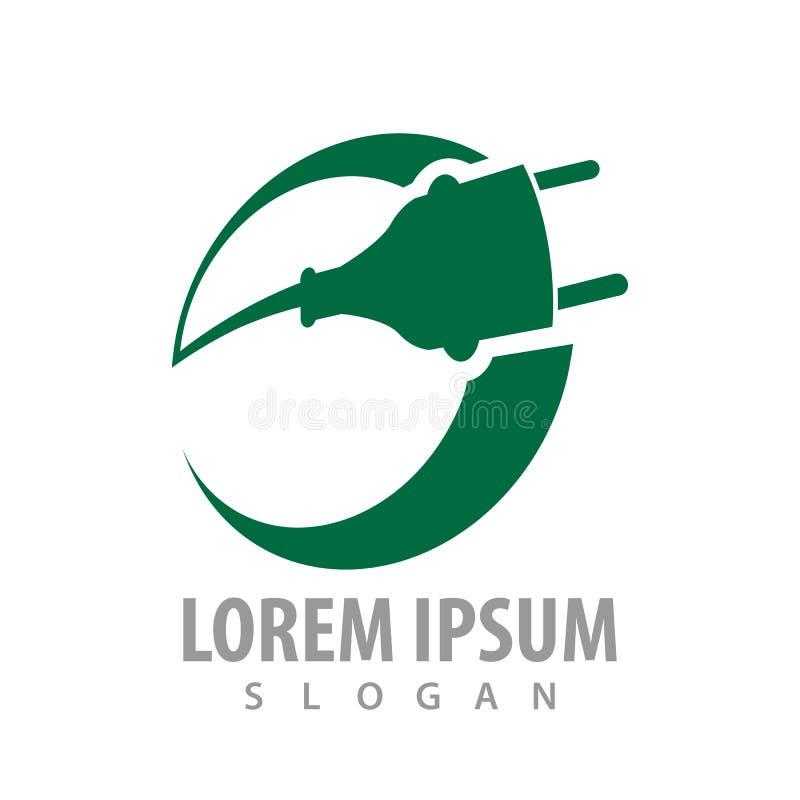 Projeto de conceito elétrico da tomada do círculo verde Vetor gráfico do elemento do molde do símbolo ilustração stock