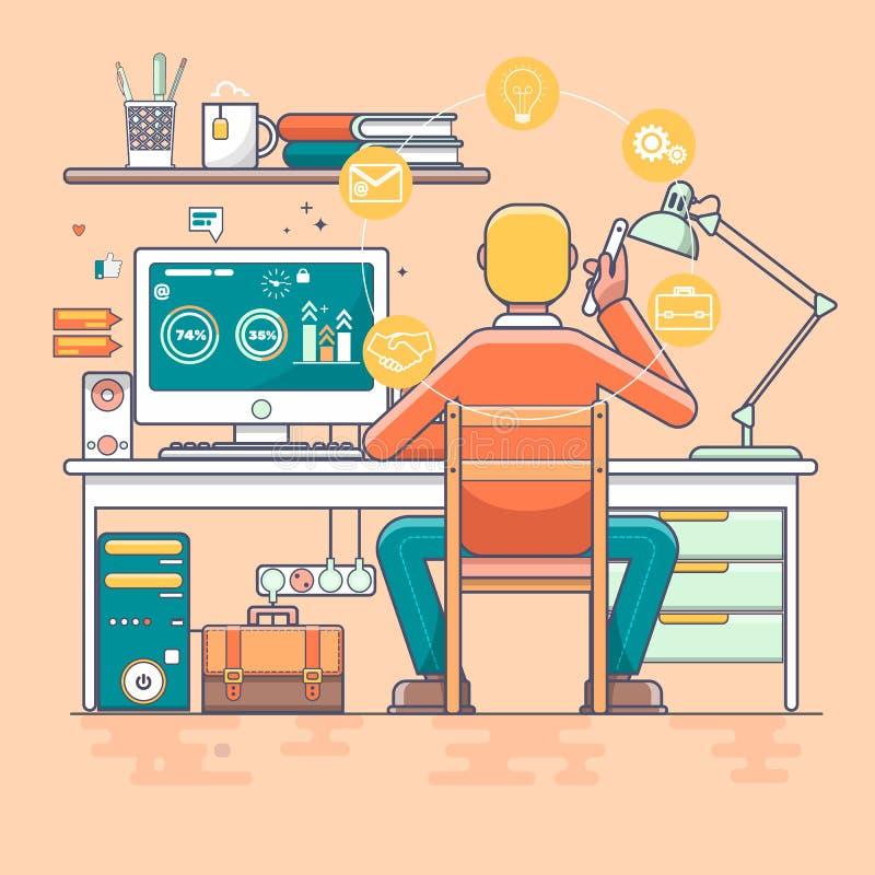 Projeto de conceito fresco do vetor no homem de negócio que trabalha em linha usando o assento do computador no escritório ilustração do vetor