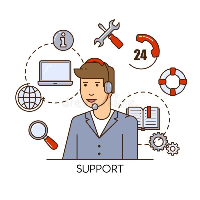 Projeto de conceito global do vetor do suporte laboral com o operador do apoio do homem Ilustração lisa do esboço ilustração royalty free