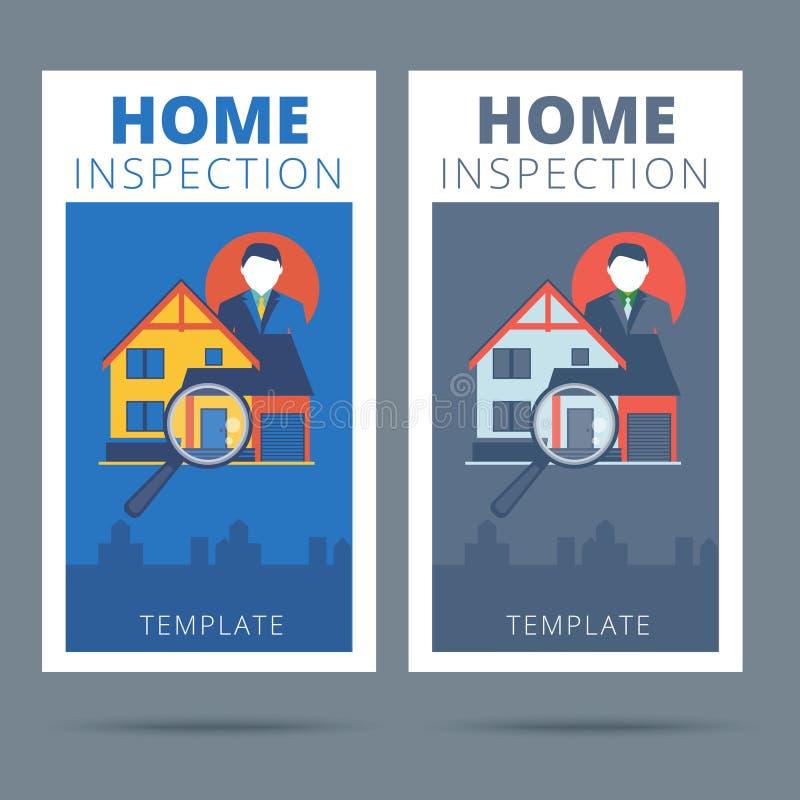 Projeto de conceito home do cartão do vetor da inspeção Casas dos bens imobiliários?, planos para a venda ou para o aluguel ilustração stock