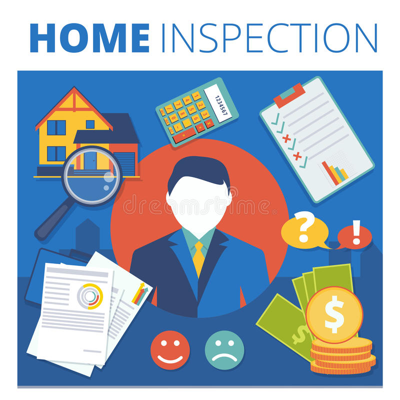 Projeto de conceito home do vetor da inspeção Ser da avaliação de bens imobiliários ilustração royalty free