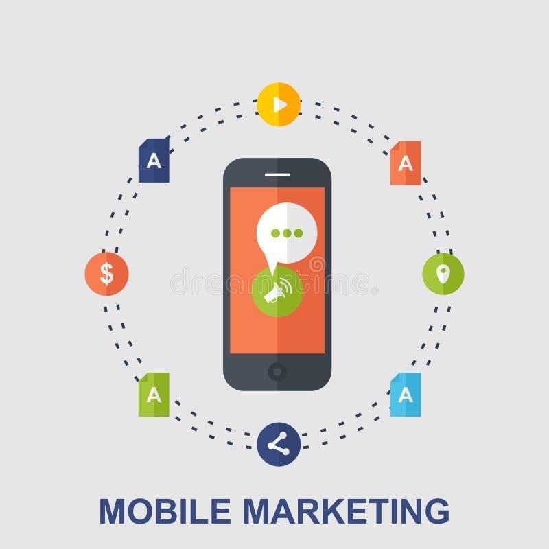 Projeto de conceito liso do mercado móvel imagens de stock royalty free