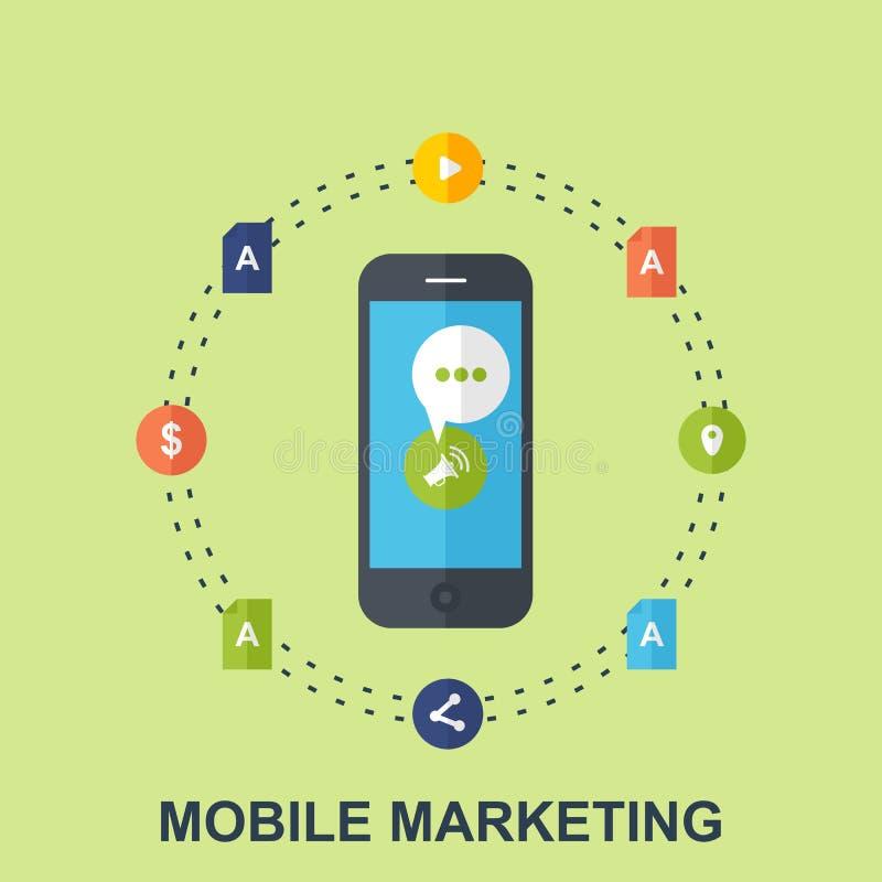 Projeto de conceito liso do mercado móvel foto de stock