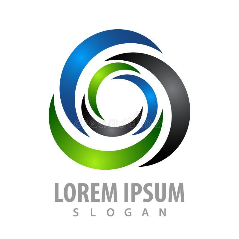 Projeto de conceito redondo dobro da finança do negócio Vetor gráfico do elemento do molde do símbolo ilustração stock