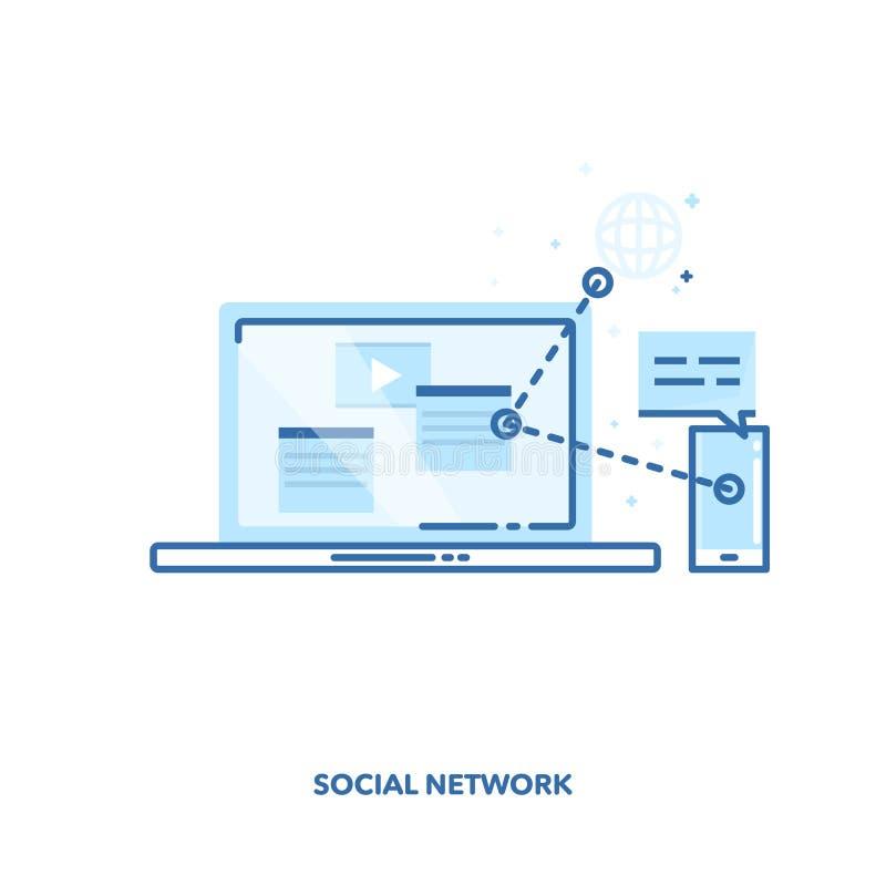 Projeto de conceito social da rede Linha projeto do vetor ilustração stock