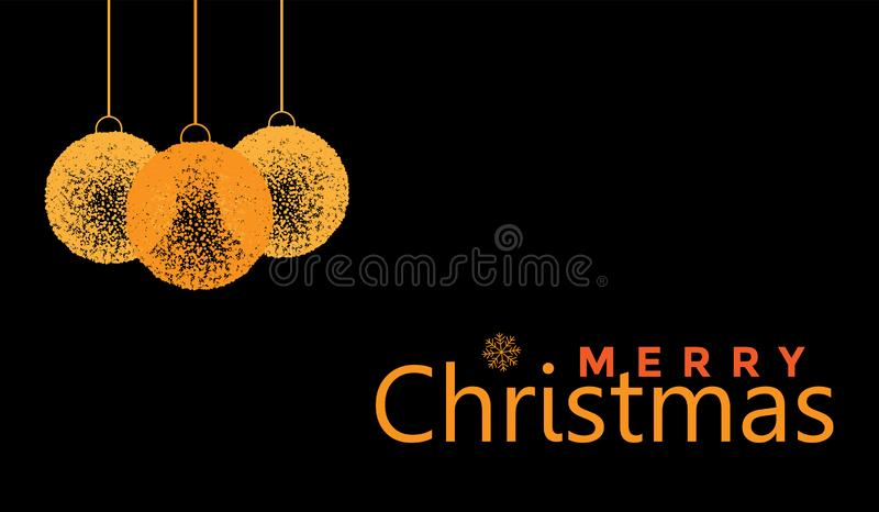 Projeto de cumprimento do texto da bola do Feliz Natal e do Natal no ícone colorido ouro no fundo preto abstrato ilustração do vetor