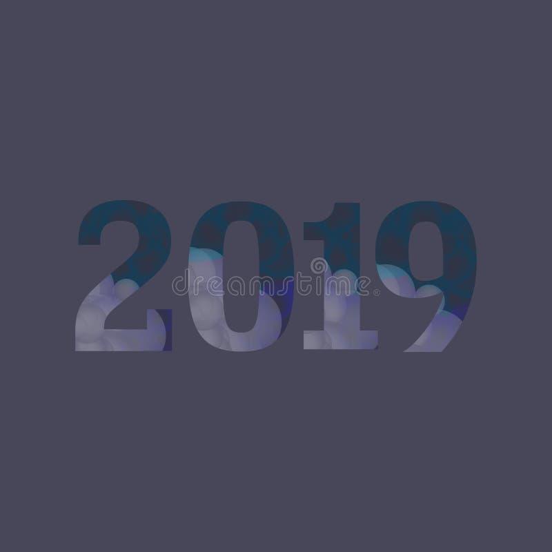 Projeto de 2019 dígitos do vetor ilustração stock