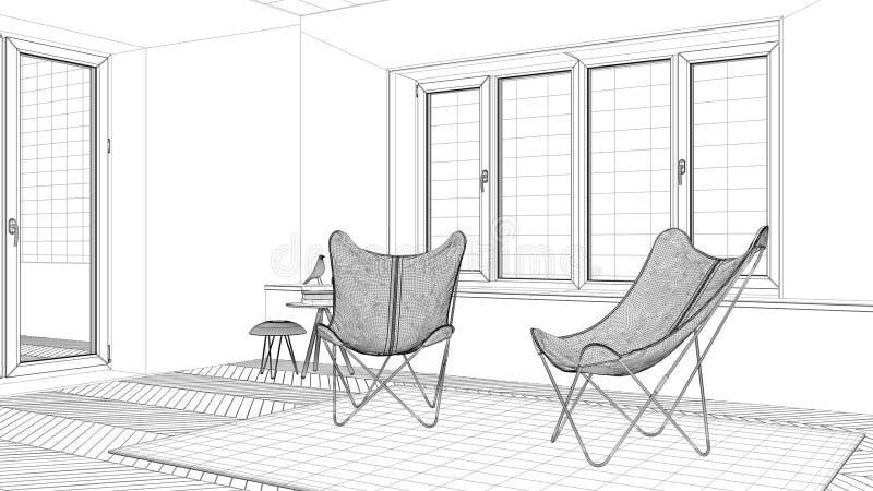 Projeto de design de interiores, esboço preto e branco da tinta, modelo da arquitetura que mostra a sala de visitas mínima com ta ilustração stock