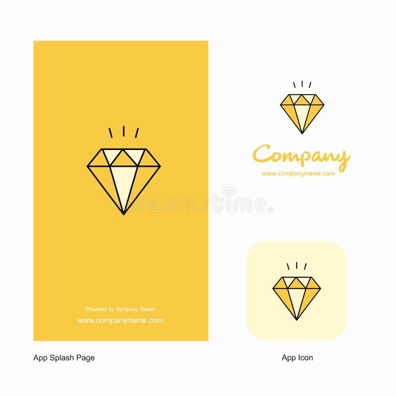 Projeto de Diamond Company Logo App Icon e da página do respingo Elementos criativos do projeto do App do negócio ilustração do vetor