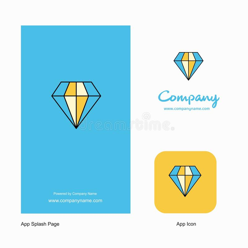 Projeto de Diamond Company Logo App Icon e da página do respingo Elementos criativos do projeto do App do negócio ilustração stock
