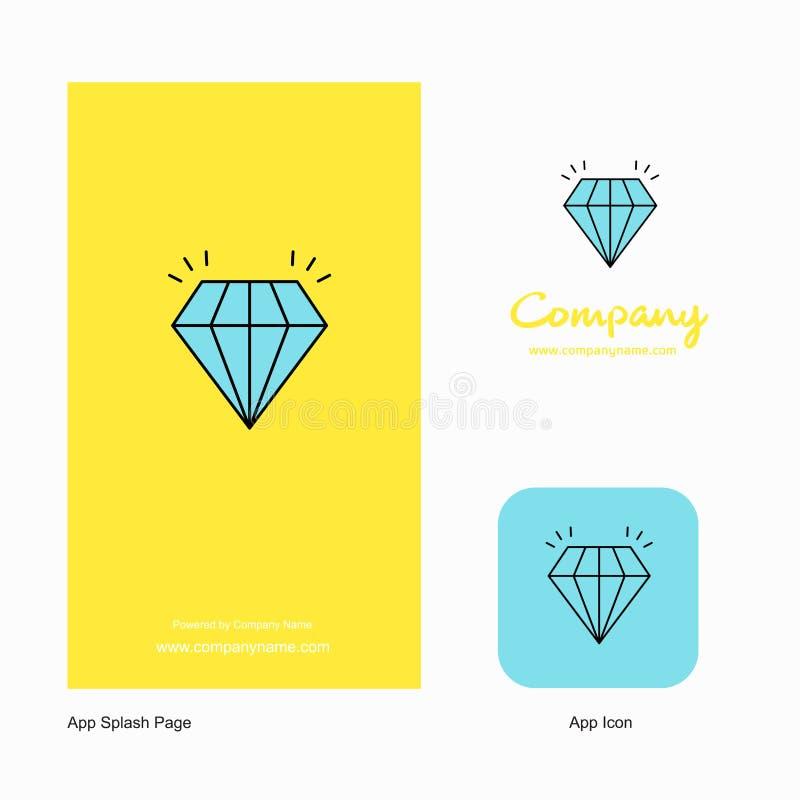 Projeto de Diamond Company Logo App Icon e da página do respingo Elementos criativos do projeto do App do negócio ilustração royalty free