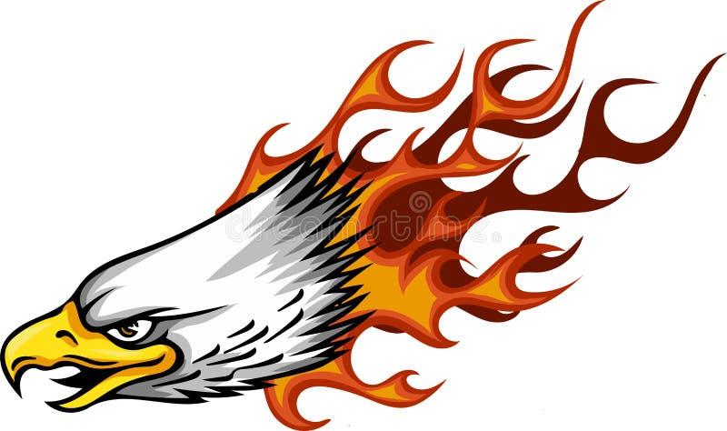 Projeto de Eagle Head Flame Vetora Template da ilustração ilustração stock