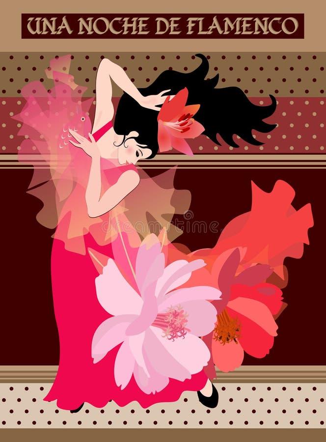 Projeto de empacotamento do chocolate Menina espanhola do dançarino com o xaile transculent na forma do pássaro no fundo decorati ilustração stock