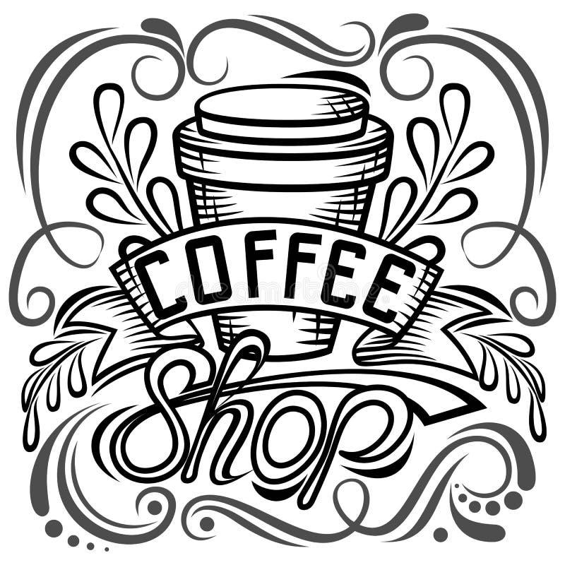 ? projeto de empacotamento do offee Desenho da mão da rotulação, ilustração da forma do café do tema Caneca fechado, loja Isolado ilustração do vetor