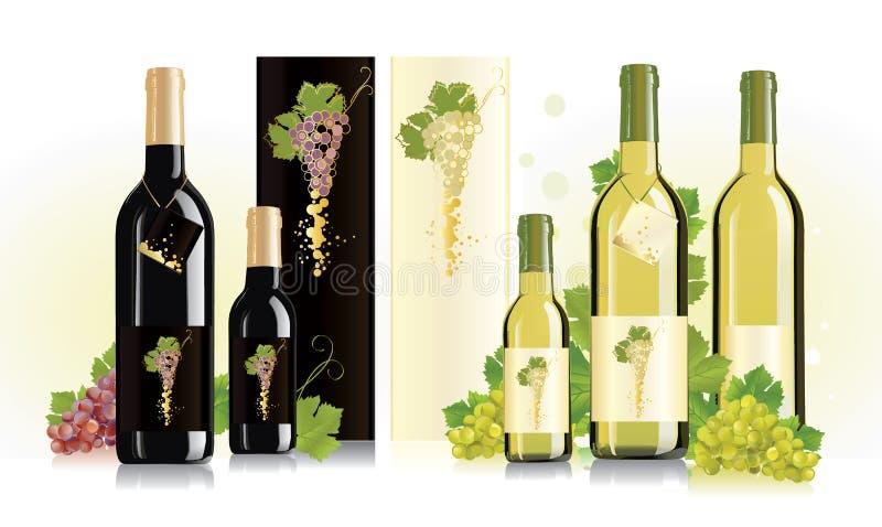 Projeto de empacotamento para o vinho branco e vermelho ilustração do vetor