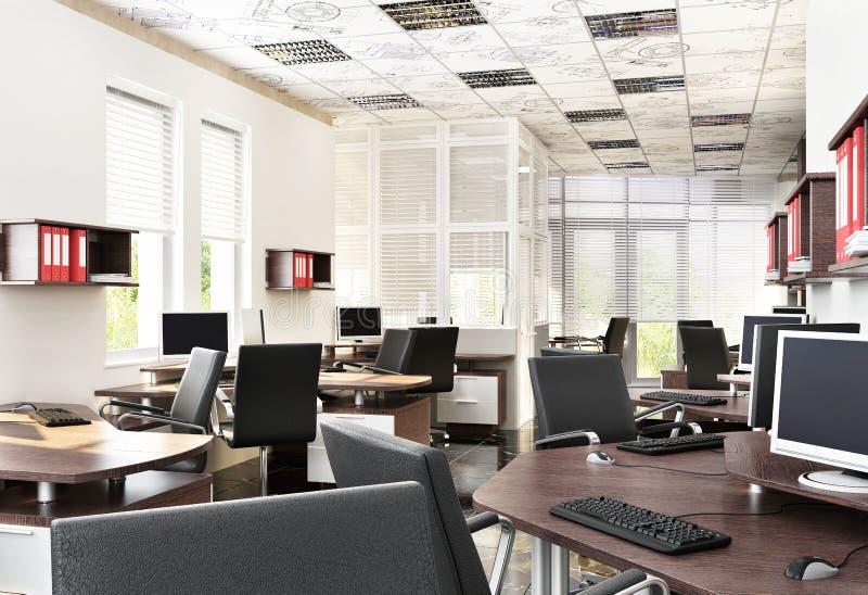 Projeto de espaço aberto moderno do escritório imagens de stock royalty free