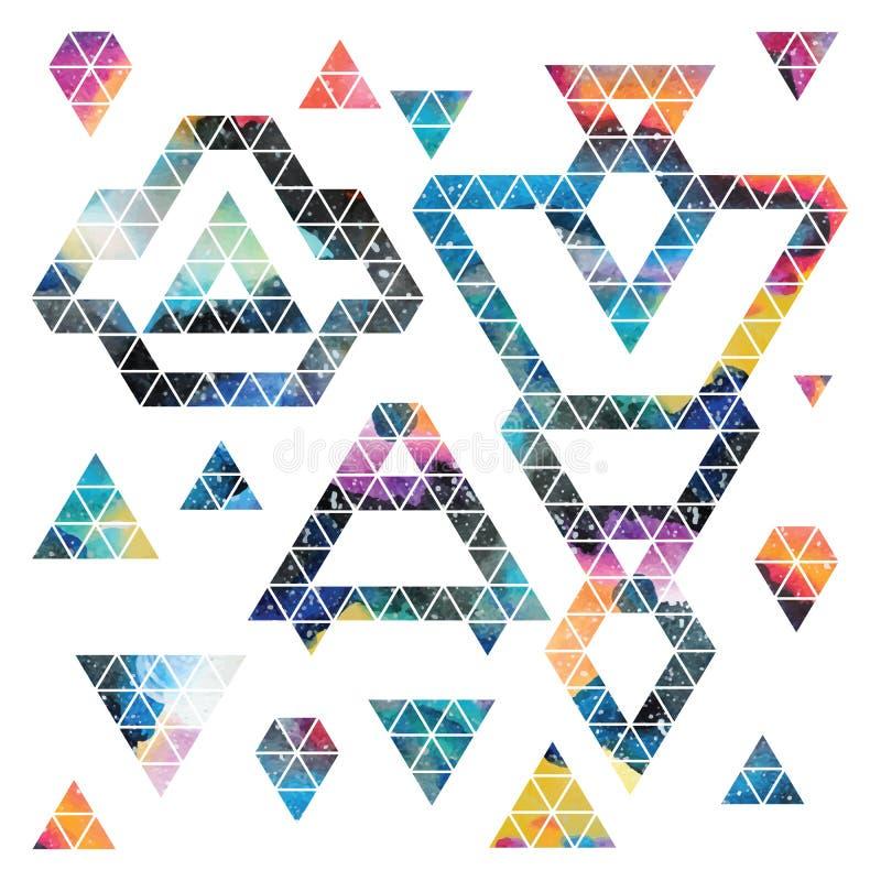 Projeto de espaço triangular Elementos abstratos da aquarela ilustração do vetor