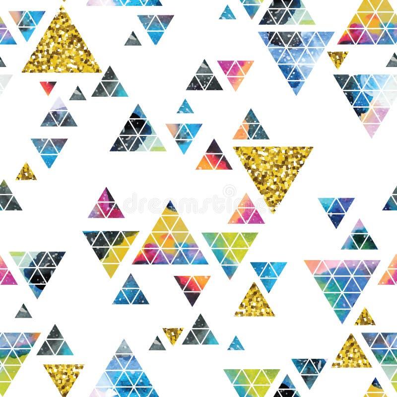Projeto de espaço triangular Ornamento abstrato da aquarela ilustração stock
