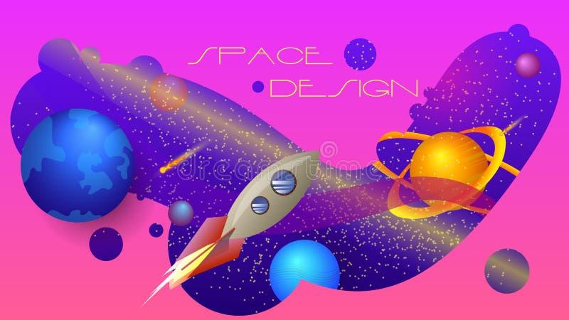 Projeto de espaço uma composição colorida ilustração royalty free
