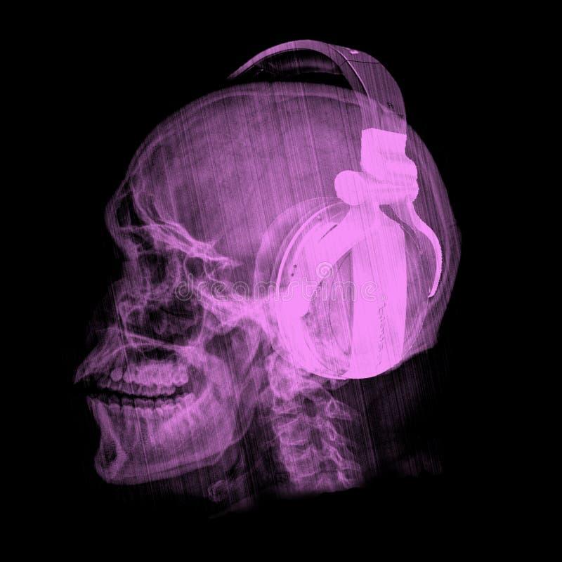Projeto de esqueleto do t-shirt da música dos fones de ouvido do crânio do DJ ilustração do vetor