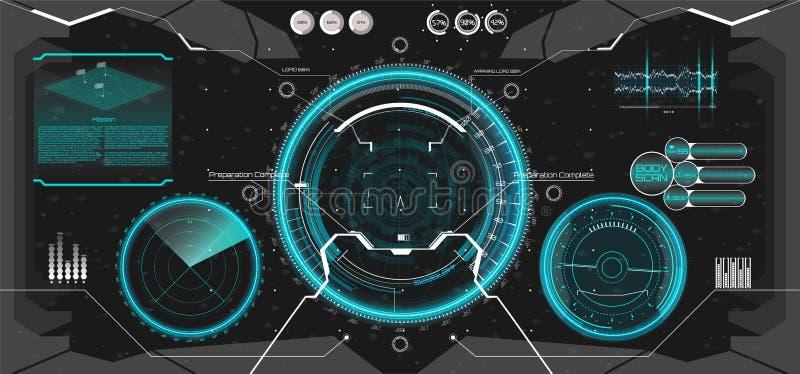 Projeto de exposição futurista da cabeça-acima de VR HUD UI ilustração stock