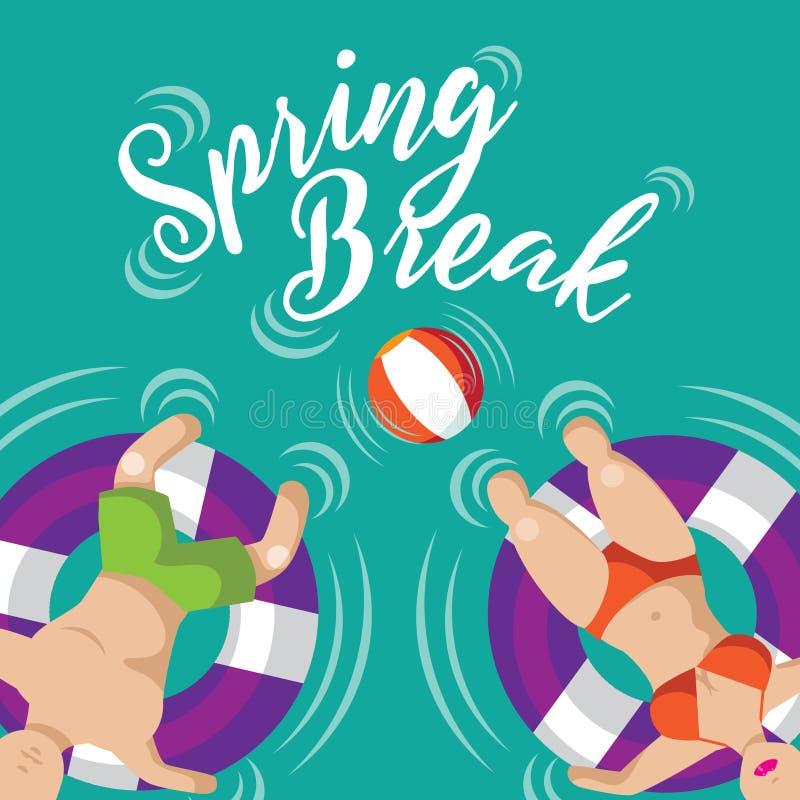 Projeto de flutuação dos pares das férias da primavera ilustração do vetor