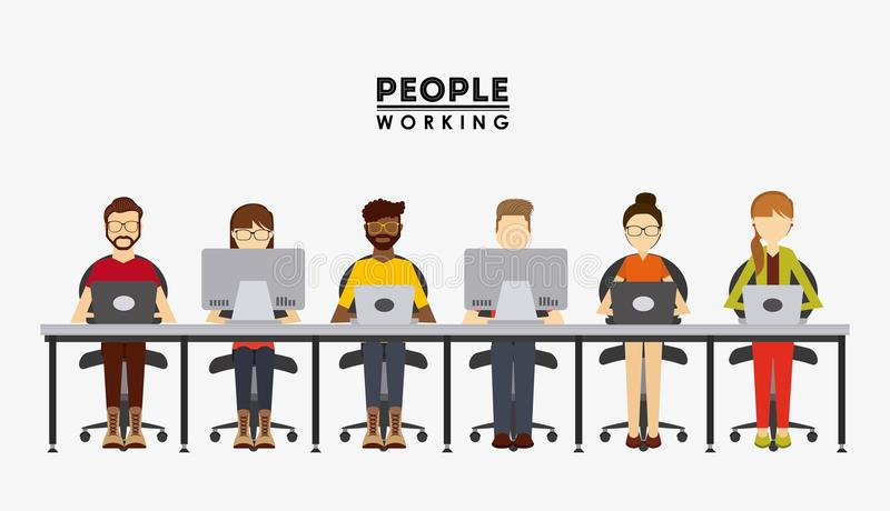 Projeto de funcionamento dos povos ilustração stock
