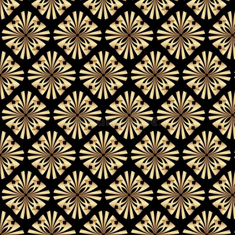 Projeto de Gatsby Art Deco Floral Pattern Background do ouro ilustração do vetor