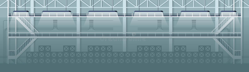 Projeto de Grey Empty Warehouse Industrial Interior ilustração stock
