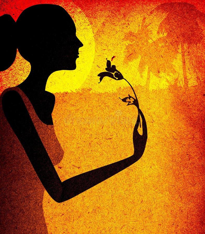 Projeto de Grunge, mulher com flor ilustração stock