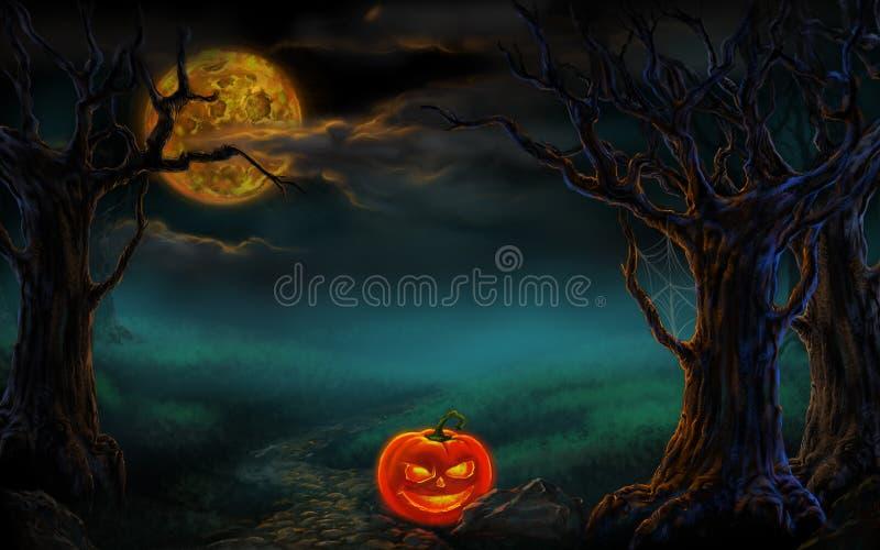 Projeto de Halloween - abóboras da floresta Fundo do horror ilustração do vetor