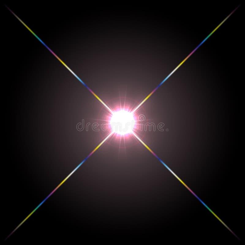 Projeto de incandescência do efeito da luz do alargamento da lente dianteira em um fundo preto ilustração do vetor