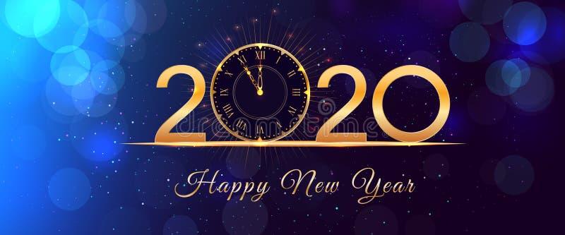 Projeto de incandescência do texto da véspera de ano 2020 novo feliz com o pulso de disparo do ouro do vintage no fundo azul com  ilustração do vetor